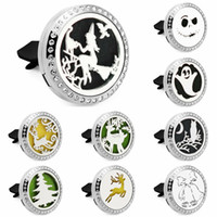 Wholesale car bell resale online - witch owl deer bell mm rhinestone L Stainless Steel Car Diffuser Locket Vent Clip Aromatherapy Essential Oil Perfume Locket Pads