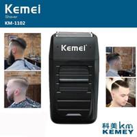 rasierklingen männer großhandel-Kemei KM-1102 wiederaufladbarer kabelloser Rasierer für Männer Doppelklinge Kolben Bart Rasierer Gesichtspflege