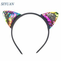 Wholesale cosplay white cat ears resale online - 18pcs Girl Lovely Headwear Plastic Headband with Reversible Sequin Cat Ear Hairband for Cosplay HB068