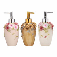 Wholesale flower soap dispenser for sale - Group buy 350ml oz Liquid Soap Dispenser Resin Hand Pump Lotion Shampoo Detergent Bottle Container With Flower Pattern Beauty Tool
