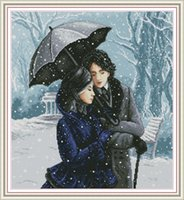 Wholesale couple kits for sale - Group buy Couple in the snow home cross stitch kit Handmade Cross Stitch Embroidery Needlework kits counted print on canvas DMC CT CT