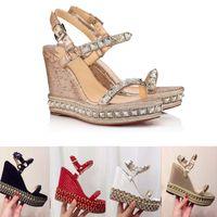 überzogene keilsandale großhandel-Designer Red Bottom Plateau Wedge Sandalen Espadrille Schuhe Damen High Heel Sommer Sandalen Silber Glitzer-beschichtetes Leder US4-11