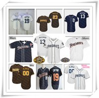 machado jersey venda por atacado-San Diego 13 Manny Machado Padres Jersey Beisebol Fernando Tatís Jr. Eric Hosmer Wil Myers Tony Gwynn Trevor Hoffman Homens Mulheres Crianças Personalizado
