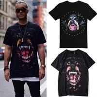 diseño de moda tees hombres al por mayor-Venta caliente Impreso Rottweiler Cabeza de Perro de Algodón Jersey Efecto Vintage Camiseta Para Hombre Diseño de Moda Street Tee Hombre