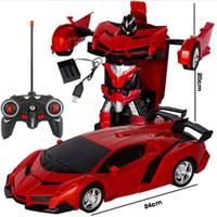 ingrosso bambini auto sportive-Nuovi modelli di auto sportive RC Auto Robot di trasformazione Telecomando Deformazione auto RC Robot Giocattoli per bambini Regali Figure del giocattolo del bambino