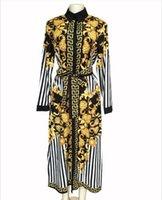 ingrosso vestito casuale della banda della donna sottile-Abito casual da donna con cinturino elegante con design floreale a righe e stampa floreale oro