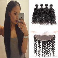 saçlı ön kapak toptan satış-Frontal 5 adet / lot İnsan Saç atkılı 13X4 Dantel Frontal Kapatma İnsan Saç atkılı Hint Saç Uzantıları Su Wave 4 Paketler