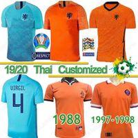 camisolas de futebol venda por atacado-Tailandês 2019 2020 Holanda jerseys de Jong camisas de futebol Holanda van Dijk VIRGIL Retro 1988 Netherlands Soccer Jersey Van Basten quentes