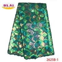 кружевные ткани оптовых-Африканские блестки кружевной ткани 2019 кружева высокого качества двойной органзы полные блестки французский тюль сетки нигерийские кружевные ткани XY2625B-1