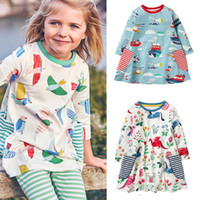 vêtements pour enfants étoiles achat en gros de-Bébé Filles Robe Animal Appliqued Rayé Étoiles Enfants Manches Longues Robe Bébé Fille Designer Vêtements Coton Automne Hiver Enfants Vêtements 2-7 T 07