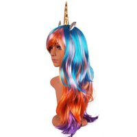 ingrosso decorazione cosplay-70 centimetri lungo ondulato Unicorno Cosplay Parrucche Festa di Compleanno Capelli finti Unicorno Parrucche con Corno Parrucche sintetiche Lolita Anime Decor Halloween Cappello