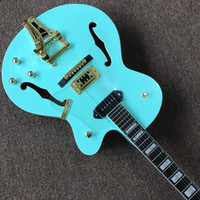 Wholesale blue electric guitars for sale for sale - Manufacturers custom direct sales hot jazz double F hole electric guitar