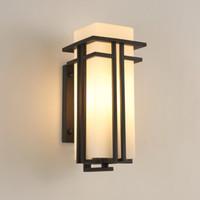 vidro antigo da lâmpada venda por atacado-Lâmpada de parede ao ar livre preto, Metal + Vidro sombra jardim lâmpada luzes de parede exterior, post antigo balcão varanda arandelas de parede iluminação