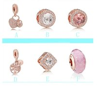 Wholesale pandora 925 ale charm beads resale online - 925 Sterling Silver Fit Pandora love beads Bracelet rose gold Crystal bangles Ale Beads for women European Charm Chain DIY Jewelry wholesal