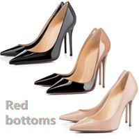 коробка резиновая оптовых-С Оригинальной коробкой Дизайнерская Роскошная Обувь Так Кейт Стили Туфли На Высоких Каблуках Красные Низы 8 СМ 10 СМ 12 СМ Натуральная Кожа Резина размер 35-42