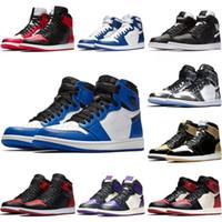 ingrosso scarpe da basket-Nike Air Jordan 1 2019 Mens 1 alto OG scarpe da basket 1s NRG igloo bandito chameleon ombra bianco nero punta elefante stampa Chicago royal Track rosso sneakrs