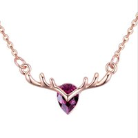 Wholesale necklace elk resale online - Designer Necklaces Chains with Crystal Elk Deer Xmas Necklace Jewelry for Women Antlers Rose Gold Pendants Necklaces Christmas Gift