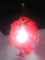 luminárias de cristal vermelho venda por atacado-2020 mais novo Handmade vidro fundido candelabro e pingente luz de fixação LED Red candelabro de cristal da iluminação da sala de jantar