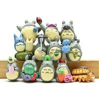 ingrosso figurine totoro-12 pz / set Studio Ghibli Figura Hayao Miyazaki Totoro Decorazione del Giardino Miniature Terrario Figurine Anime Action Figure Giocattoli