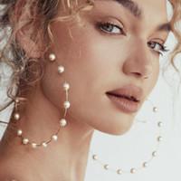 ohrringe großer kreis silber großhandel-Europäische und amerikanische Ohrringe New Pearl Big Circle Pop Sexy Mode übertrieben Perlenohrringe Hochzeiten Partys aller Art von Anlässen