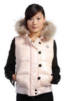 vestido de chaleco de invierno de las mujeres al por mayor-Clásico de la marca de moda de las mujeres de invierno cálido abajo chaqueta con cuello de piel vestido de plumas chaquetas para mujer al aire libre abajo chalecos abrigo