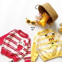 blusas de mão pura venda por atacado-Roupas de algodão puro de Tonytaobaby Crianças Knitting Sweater bolso mão tridimensional Bow Stripe Sweater bonito dos desenhos animados