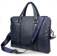 bolsas de mensajero de cuero genuino azul al por mayor-Nesitu alta calidad negro chocolate azul cuero genuino 14 '' Laptop Office hombres maletín Business Messenger Bag cartera M7326