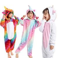inverno crianças sleepwear venda por atacado-Crianças Pijama Unicórnio Inverno Pijama Animal Dos Desenhos Animados Pijamas Onesie Crianças Traje de Lã Flanela Quente Crianças Cobertor Pijamas
