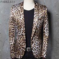 leopard print homens blazers venda por atacado-Leopardo Impressão Blazer Jacket Homens Casuais Ajuste Ocasional Cheetha Impresso Terno Casacos Cantor DJ Bar Stage Rock Costume Jacket Homme