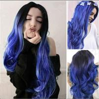 ingrosso lunghi capelli blu-Parrucca femminile europeo e capelli impostato fibra chimica americana nero sfumato capelli lunghi del volume grande onda blu medio