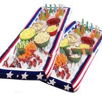 bandeja de moda venda por atacado-Seasiade Ice Tray Cooler Partido Inflável Bandeira Americana Sorvos Balde Verão Sandbeach Vermelho Azul De Plástico Moda Portátil 12 hc C1