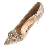 payetli elbise ayakkabıları toptan satış-Sivri Ayak parmakları 2019 Yeni Moda Gümüş Lüks Boncuklu payetli Tasarımcı Kadınlar Düğün Ayakkabı Yüksek Topuklar 8 cm Gelinlik Ayakkabı Büyük Boy pompaları