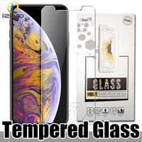 varejo tela clara iphone venda por atacado-Vidro moderado para o iPhone 11 Pro XS MAX XR X 8 7 6 Plus Anti-scrach protetor de tela clara completa Cola com embalagens de varejo