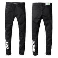jeans rasgados tamanho 42 venda por atacado-Designer Mens Preto Rasgado Jeans Motociclista Rasgado Tamanho 29 ~ 42 Slim Fit Motociclista Motociclista Denim Para Homens Marca Designer Hip Hop Mens Jeans