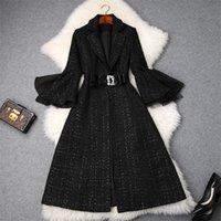 abrigo de lana vintage al por mayor-Diseñadores de marcas de moda Chaquetas y abrigos de lana de tweed de tela escocesa de invierno Dama muescas Collar manga angosta Abrigo de mezcla de lana vintage Abrigo