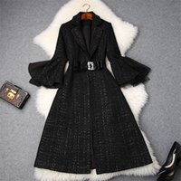 ingrosso giacca di plaid rivettata-Fashion Brand Designers Winter Plaid Tweed Giacche e cappotti di lana Lady Collo a bavero Flare Sleeve Vintage Wool Blend Overcoat