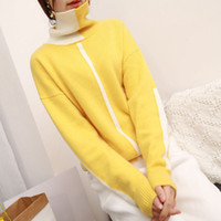 Wholesale angora pullover sweater resale online - Women Winter Casual Color Blocking Angora Wool Cashmere Sweater Turtleneck Pullover Jumper Patchwork Cute Sweater
