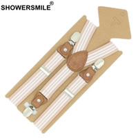 Wholesale boys pants braces for sale - Group buy SHOWERSMILE Braces For Children Suspenders Strap Pink Stripe Leather Pants Strap Clips Tuxedo Suspensors For Boys Girls Tirantes