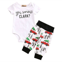 Wholesale baby cars outfit for sale - Group buy Cute Newborn Infant Baby Boy Girl Clothes Set Short Sleeve You Serious Clark Letters Rompers Car Print Pants Outfits Set Y190515