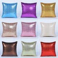 fall rote farbe groihandel-Solid Color Glitter Pillowcase Pailletten Mermaid Lila, Rot, Blau Kissenbezug 40 * 40 cm Startseite Autokissenbezug