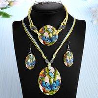 jóias de correntes de couro venda por atacado-Conjuntos de Jóias ZOSHI Shell Nupcial Colar De Corrente De Couro Brincos Pulseira de Casamento verão mulheres conjunto de jóias de moda