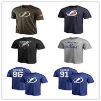 camisas camuflagem hóquei venda por atacado-Popular NHL Tampa Bay relâmpago camisetas 2019 camisola de hóquei camisas baratos saudação relâmpago ao serviço Camuflagem homens camisas azul marinho