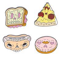 ingrosso zombie scheletro-Zombie Face Fast Food Scheletro Pins Ciambella Ciambella Hot dog Pizza Ciambella Toast e Skull Spille Distintivi divertenti Spilla Pinsi Backpins