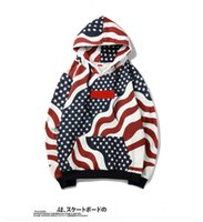 Wholesale winter classic hoodies online – oversize 2019 autumn and winter hot Tide brand classic sweater jacket sup flag sweater couple hoodie plus velvet sweater jacket S XL