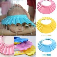 çocuklar mavi duş kapağı toptan satış-Ayarlanabilir Bebek Çocuk Şampuanı Banyo Banyo Duş Cap Şapka Yıkama Saç Kalkanı
