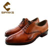 leather paint оптовых-Sipriks  Men's Hand-Painted Leather Dress Shoes Vintage Business Office Shoes Boss Male Goodyear Welted Oxfords Gents Suit