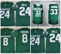futebol mágico venda por atacado-NCAA Michigan estado Spartans MSU # 8 Kirk Cousins 24 LeVeon Bell 33 camisolas de futebol universitário Earvin Magic Green White S-3XL costurado