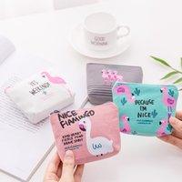 zíper de carteira de silicone venda por atacado-Bonito dos desenhos animados Flamingo Coin Purse Carteira de bolso Canvas Zipper saco de armazenamento portátil Hot Sale 1 8xm UU
