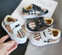 Wholesale new kids sneakers canvas resale online - New Designer Children Peas Boy lattice British Wind loafers Soft bottom White black toddler Kids Casual shoes Sneakers Chaussures Enfants