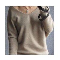 batwing kol kaşmir süveter toptan satış-Kadınlar Seksi Stil V yaka kazak Yün Kazak Batwing Sleeve Artı boyutu S-4XL Pullover için Kadın Kazak Kaşmir kazak
